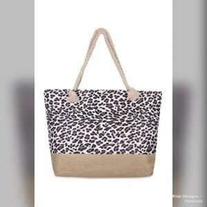 🥰PREORDER Straw/Leopard Print Rope Handle Tote!